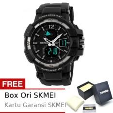 SKMEI Goblin Hitam Silver - Jam Tangan Pria - Strap Karet - 1040 Sport Black Silver + Free BOX ORI SKMEI