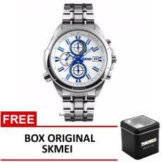 Skmei Jam Tangan 9107Cs Silver Blue Box Original Skmei Promo Beli 1 Gratis 1