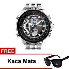 Promo Toko Skmei Jam Tangan Ad0993 Silver Black Free Kacamata