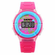 SKMEI Jam Tangan Anak Digital Children Sport Rubber LED Watch DG1097 Tali Strap Karet Lentur Alarm Wristwatch Wrist Watch for Kids Fashion Accessories Waterproof Nyaman Stylish Lucu Design Unik - Pink
