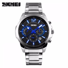 Toko Jual Skmei Jam Tangan Analog Pria 9108Cs Jam Tangan Pria Chronograph Chrono Watches Day Date Silver Hitam