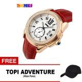 Jual Skmei Jam Tangan Analog Wanita 1147Cl Red Golden Free 1X Topi Adventure Lengkap