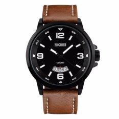 Beli Skmei Jam Tangan Kasual Casual Men Leather Strap Watch Water Resistant 30M 9115Cl Coklat Hitam Seken