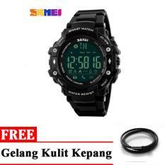 SKMEI Jam Tangan Olahraga Smartwatch Bluetooth - Black + free 1x Gelang Kulit