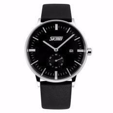Jual Skmei Jam Tangan Pria Casual Men Leather Strap Tali Kulit Water Resistant 30M Kerja Elegant Maskulin Watch 9083Cl Hitam Baru