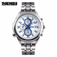 Harga Skmei Jam Tangan Pria Jam Tangan Analog 9107Cs Jam Tangan Pria Strap Rantai Stainless Steel Silver Putih Murah