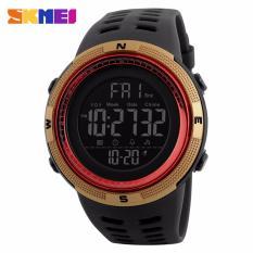 SKMEI Jam Tangan Pria Jam Tangan Analog Stopwatch Countdown Alarm Date EL Light Chrono DG1251 - Hitam Merah Gold