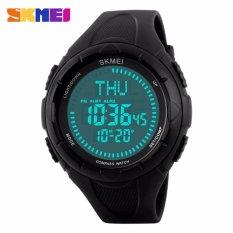 Spesifikasi Skmei Jam Tangan Pria Jam Tangan Digital Multifungsi Jam Tangan Compass Alarm Stopwatch Day Date Dg1232 Hitam