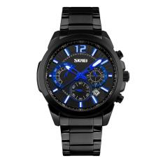 Jual Beli Online Skmei Jam Tangan Pria Multifunctional Waterproof Quartz Stainless Steel 9108 Black Blue