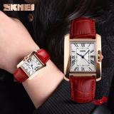 Iklan Skmei Jam Tangan Wanita Classic Time Piece Fashion Watch Casual Ladies Leather Strap Water Resistant Anti Air Wr 30M Tali Kulit 1085Cl Accessories Square Trendy Model Baru Merah