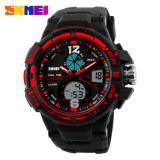 Diskon Skmei Men Sport Analog Dual Time Led Watch Water Resistant Wr 50M Ad1148 Jam Tangan Pria Tali Strap Karet Date Alarm Hitam Merah Branded