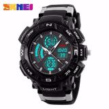 Harga Hemat Skmei Men Sport Led Dual Time Watch Anti Air Water Resistant Wr 50M Ad1211 Jam Tangan Pria Tali Strap Karet Day Date Digital Alarm Wristwatch Wrist Watch Fashion Accessories Stylish Trendy Sport Design Hitam Abu