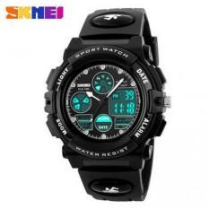Termurah !! SKMEI Men Sport LED Watch Water Resistant 50M - AD1163 - Black White / Hitam Putih Jam Tangan Cowok Cowo Unik Fashionable Sporty Trendy Stylish Berkualitas ORIGINAL