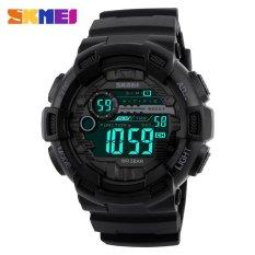 Spesifikasi Skmei Pria Olahraga Watches 50 M Tahan Air Lampu Belakang Led Digital Watch Chronograph Shock Double Waktu Jam Tangan 1243 Hitam Intl Yang Bagus