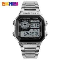 SKMEI Pria Olahraga Watches Menghitung Mundur Tahan Air Watch Stainless Steel Fashion Digital Jam Tangan Pria Jam 1335-Intl