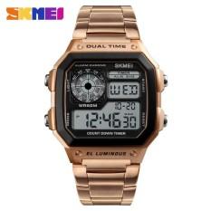 Spesifikasi Skmei Pria Olahraga Watches Menghitung Mundur Tahan Air Watch Stainless Steel Fashion Digital Jam Tangan Pria Jam 1335 Intl Skmei