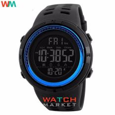 SKMEI Men Sports Watches Countdown Double Time Watch Alarm Chrono Digital Wristwatches 50M Waterproof Watches 1251 - Black Blue - intl