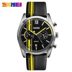Spek Skmei Pria Olahraga Watches Kuarsa Jam Tangan Kulit 3Atm Tahan Air Kalender Stop Watch 9148 Kuning Internasional