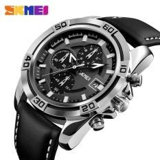 Toko Skmei 9156 Jam Tangan Men Sport Pria Quartz Watch Lembut Tali Kulit Jam Tangan Chronograph Date Waterproof Meal Wristwatches 9156 Intl Terlengkap Di Tiongkok