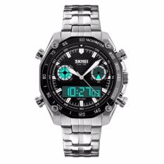 Review Tentang Skmei Men Stainless Strap Watch Water Resistant Wr Anti Air 30M Ad1204 Jam Tangan Pria Dual Time Digital Analog Wristwatch Fashion Accessories Sporty Design Silver Hitam