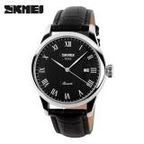 Beli Skmei Pria Watches Quartz 30 M Tahan Air Tali Kulit Jam Tangan 9058 Hitam Black Belt Intl Pake Kartu Kredit