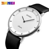 Harga Termurah Skmei Pria Quartz Watches Tahan Air Ultra Tipis Case Black Leather Strap Watch Untuk Pria 1263 Model Baru Intl