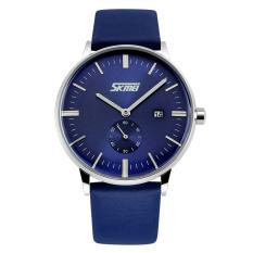 Diskon Skmei Men Leather Strap Watch Biru 9083 Skmei