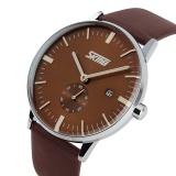 Toko Skmei Men Leather Strap Watch Brown 9083 Intl Lengkap Tiongkok