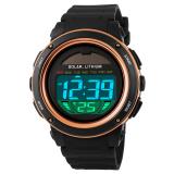 Harga Skmei Pria Sport Tahan Air Karet Strap Wrist Watch Emas 1096