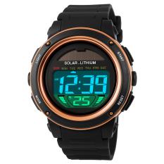 Promo Skmei Pria Sport Tahan Air Karet Strap Wrist Watch Emas 1096 Skmei Terbaru