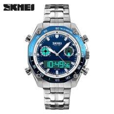 Spesifikasi Skmei Merek Watch 1204 Pria Olahraga Penuh Stainless Steel Tahan Air Kuarsa Tampilan Dual Digital Jam Tangan Murah