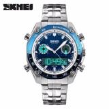 Spesifikasi Skmei Merek Watch 1204 Pria Olahraga Penuh Stainless Steel Tahan Air Kuarsa Tampilan Dual Digital Jam Tangan Lengkap