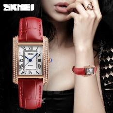 SKMEI  Merek Watch Fashion Retro Perempuan Jam Tangan Mewah Kulit Tali Wanita Kuarsa Kasual Tahan Air Jam Tangan 1281-Intl