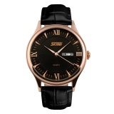 Spesifikasi Skmei New Fashion Men S Black Leather Strap Wrist Watch Black 9091 Intl Terbaik