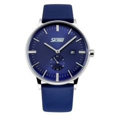 Beli Skmei Baru Fashion Pria Leather Strap Watch Biru 9083 Skmei Murah