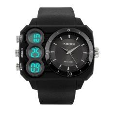 Spesifikasi Skmei Outfit Full Hitam Jam Tangan Pria Strap Karet Ad1090 Black Edition Free Box Jam Tangan Flash Dan Harganya