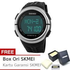 SKMEI Pedometer Hitam - Jam Tangan Pria - Strap Silikon - 1058 Sport Black + Free BOX ORI SKMEI