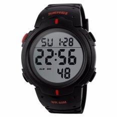 Harga Hemat Skmei Pioneer Sport Watch Water Resistant 50M Jam Tangan Sporty Pria Strap Silicon Dg1068 Hitam Merah