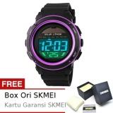 Diskon Produk Skmei Radiant Hitam Ungu Jam Tangan Wanita Strap Karet 1096 Sport Black Purple Free Box Ori Skmei