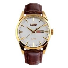 Spesifikasi Skmei Reverse Putih Coklat Jam Tangan Pria Tali Kulit 9073 Reverse White Brown Free Box Jam Tangan Flash Murah Berkualitas