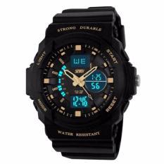 SKMEI S-Shock Sport Analog Digital Watch Water Resistant Anti Air WR 50m AD0955 Jam Tangan Pria Dual Time Tali Strap Karet Silicone Wristwatch Wrist Watch Sporty Fashion Design - Hitam Gold