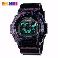 SKMEI S-Shock Sport Watch Water Resistant Anti Air WR 50m DG1150 Jam Tangan Pria Digital Tali Strap Karet Silicone Alarm Wristwatch Wrist Watch Fashion Accessories Stylish Sporty Design - Hitam Ungu