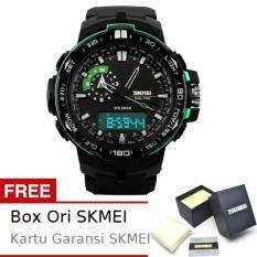 SKMEI Shelter Hitam Hijau - Jam Tangan Pria - Strap Karet - 1081 Sport Black Green + Free BOX ORI SKMEI