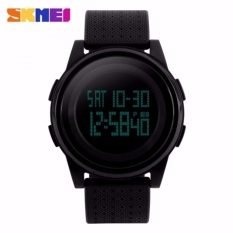 SKMEI Silicone Light Thin Sport Watch Anti Air Water Resistant WR 50m DG1206 Jam Tangan Pria Wanita Unisex Tali Strap Karet Digital Alarm Stopwatch Wristwatch Wrist Watch Fashion Accessories Stylish Trendy Model Baru Sporty Design - Hitam