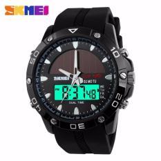 SKMEI Solar Power Sport LED Watch Water Resistant Anti Air WR 50m Jam Tangan Pria AD1064E Dual Time Strap Tali Karet Silicone Tenaga Surya Sporty Fashion Design - Hitam
