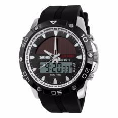 SKMEI Solar Power Sport LED Watch Water Resistant Anti Air WR 50m Jam Tangan Pria AD1064E Dual Time Strap Tali Karet Silicone Tenaga Surya Sporty Fashion Design - Hitam