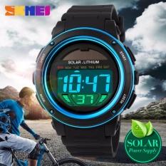 SKMEI Tenaga Surya Olahraga Watches Pria Shock Digital Watch Chrono 50 M Tahan Air Jam Tangan-Internasional