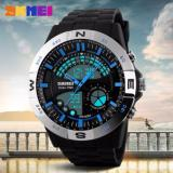 Harga Termurah Skmei Speedometer Dual Time Anti Air Man Digital Watch Jam Tangan Pria Blue Silver