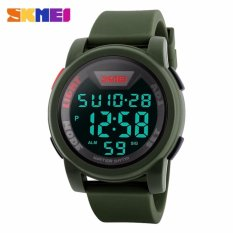 SKMEI Sport Men LED Watch Anti Air Water Resistant WR 50m DG1218 Jam Tangan Pria Tali Strap Karet Digital Alarm Wristwatch Wrist Watch Fashion Accessories Stylish Trendy Model Baru Sporty Design - Hijau Navy