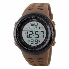 Beli Skmei Sport Watch Silicone Strap Water Resistant 50M Jam Tangan Sport Waterproof Day Date Stopwatch 1167 Coklat